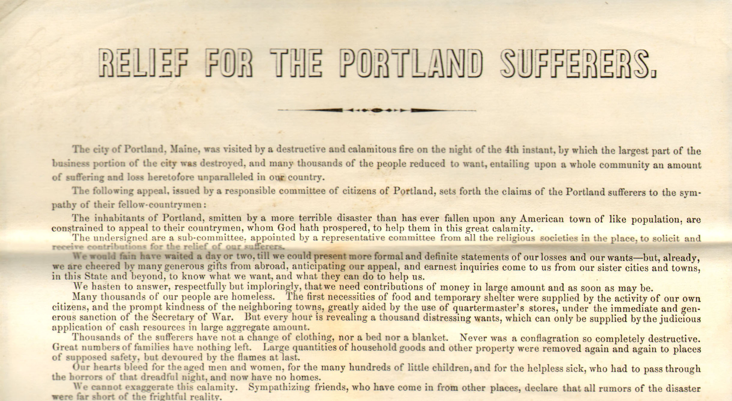 Relief for the Portland Sufferers : The Great Fire, 1866