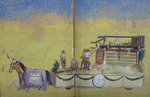 "Painted Sketch for ""Popham building a fort at Sagadahoc"" Parade Float by Joseph A. Damon"