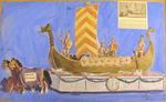 "Painted Sketch for ""The Visit of the Vikings"" Parade Float by Joseph A. Damon"