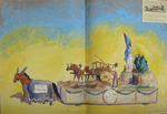 "Painted Sketch for ""Early Marketing in the Town of Falmouth"" Parade Float by Joseph A. Damon"