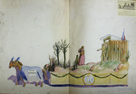 "Painted Sketch for ""Hannah and Rebecca Weston"" Parade Float by Joseph A. Damon"