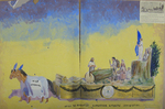 "Painted Sketch for ""Lumbering Attracts Immigration"" Parade Float by Joseph A. Damon"