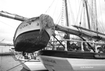 Detail of schooner Harvey Gamage, Portland harbor. by Abraham A. Schechter