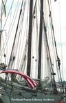 Schooner, the Spirit of Massachusetts, with flags. by Jill Brady