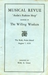 "Musical Revue : ""Andre's Fashion Shop,"" Presented by the Willing Workers. by Peggy Bennett and Kitty A. Grant"