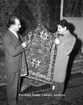 Aram Mougalian, at Oriental Rug Shop, 1947.