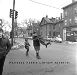 Street-crossing guard with school children, Bayside : 1969