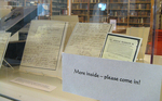 Portland Room display: Letters from the Relief for the Portland Sufferers Collection