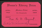 Membership Ticket by Woman's Literary Union